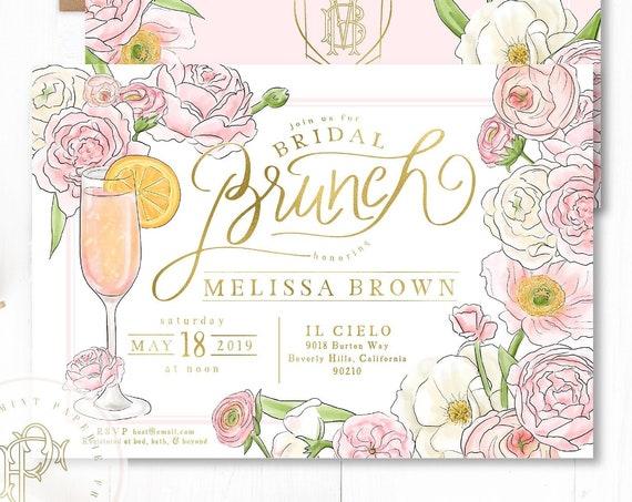 Brunch & Bubbly Invitation - Champagne invitation - Bridal Shower Invitation - Mimosa invitation - Mimosa Shower invitation