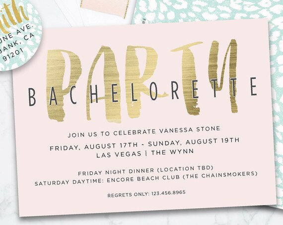 Bachelorette Invite - Bridal Shower Invitation - Bachelorette Invitation - Watercolor Bachelorette Beach Party Invitation