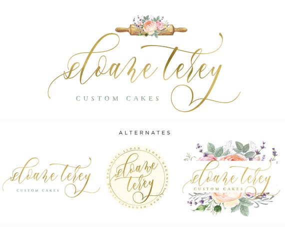 Pretty logo - watercolor logo - blush logo - calligraphy logo - watercolor logo - leaf logo - freshmint paperie