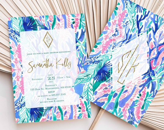 Tropical invitation | colorful baby shower Invitation | Monogrammed |  Pink & Blue Baby Shower Invitation | Tropical | Watercolor