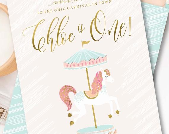 Carousel invitation | Carousel Birthday Invitation | Circus invitation |  Carnival Circus Invitation | Girls Carnival Invite | Pink Circus