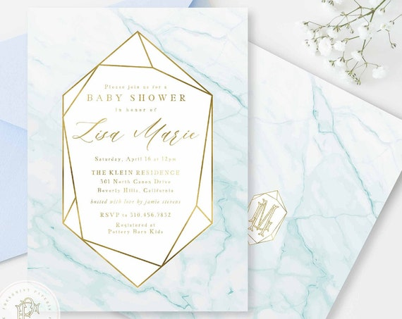 Geometric Baby Shower invitations baby blue & Gold marble Baby Shower Invitation boy Modern Baby Sprinkle Invite