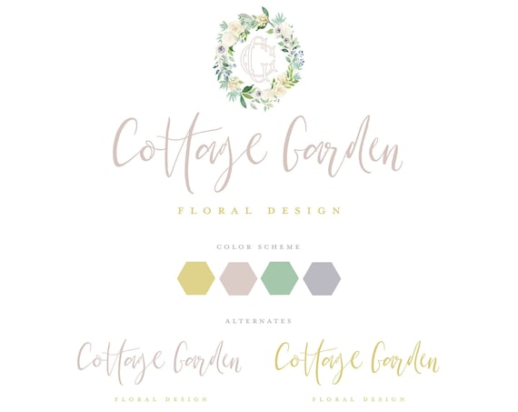 Floral logo design -  Cottage logo  - calligraphy logo - business logo - Pretty logo - monogram logo - rustic - wreath - flower shop logo
