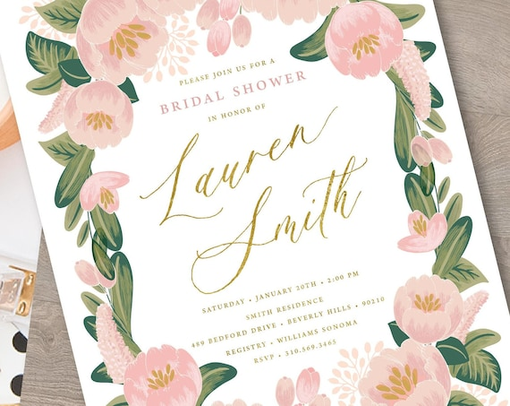 Brunch Invitation - Watercolor Floral invitation - Bridal Shower Invitation - Mimosa invitation - Mimosa Shower invitation