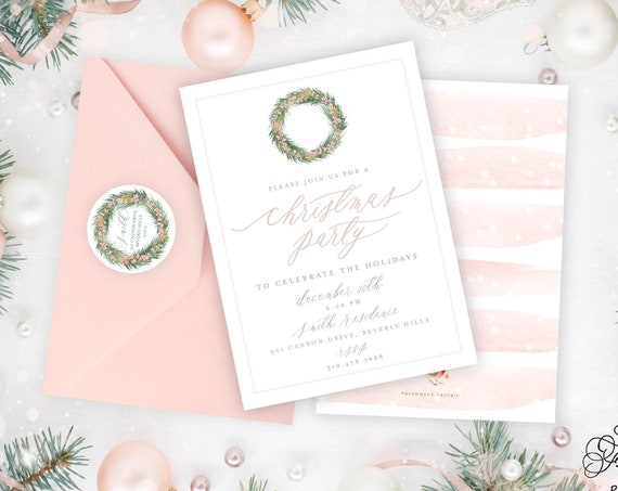 Holiday Cards, Christmas Party card, Christmas Party, Holiday Party cards, Pretty Holiday Cards, Pink floral Wreath