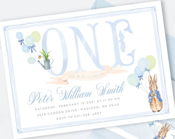 Peter Rabbit invitation | Bunny Birthday Invitation | Easter Invitation | Easter Bunny Invite | ONE Peter Rabbit Invite