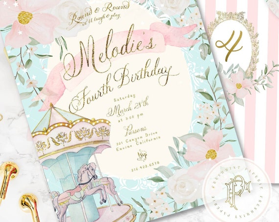 Carousel birthday invitation, carousel invitation, girls birthday invitation, pony invitation, girls carousel, Carnival invitation
