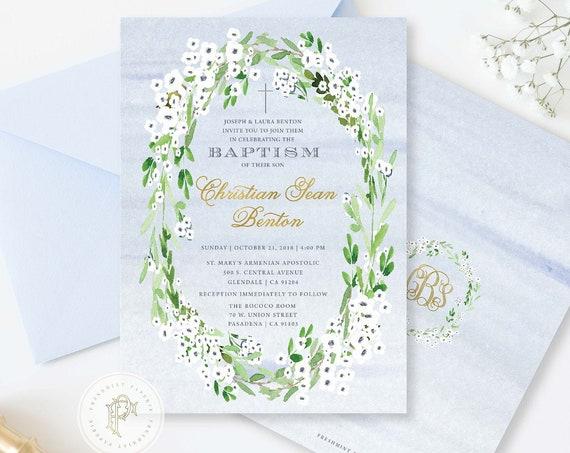 Baptism invitation - Christening invitation - Dedication invitation - Baptism - Christening - Anemone invite - Boys Baptism Invite - 138