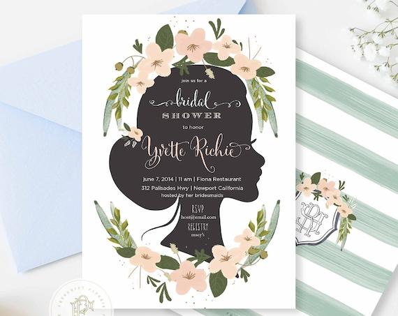 Printable invitations - bridal shower invitation - flower invitation - calligraphy - face sillouette invitation - freshmint paperie