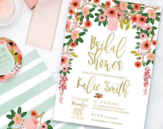 Bridal Shower invitation - holiday floral shower invitation - wedding shower - watercolor floral invitation - watercolor invitation