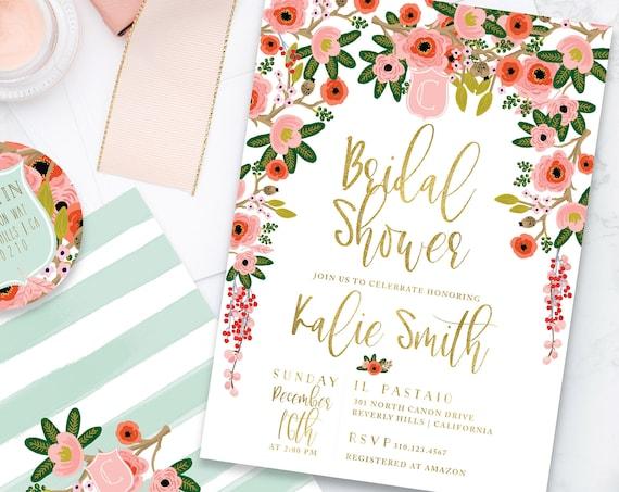 Bridal Shower invitation - holiday floral shower invitation - wedding shower - watercolor floral invitation - watercolor invitation