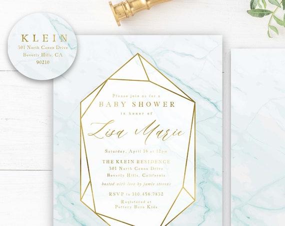 Geometric Baby Shower invitations baby blue & Gold marble Baby Shower Invitation boy Modern Baby Sprinkle Invite