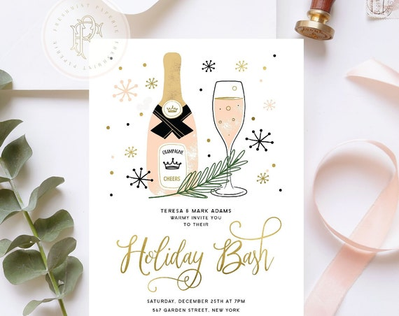 Holiday Bash invitation | Holiday Party invitation | Christmas Party invitation | New Years invitation | Holiday invitation