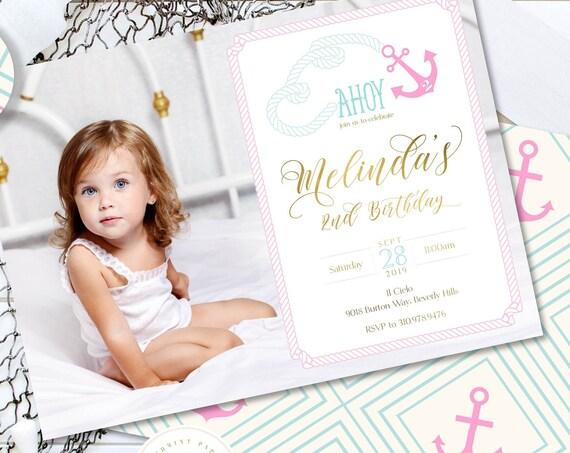 Nautical Birthday Invitations, Girls Nautical Invitation, Ahoy Party Invitation, Nautical Anchor Birthday Party Invitation, Picture
