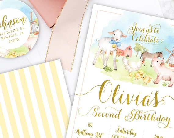 Barnyard invitation - farm invitation - barnyard birthday invitation - kids birthday invitation - chic kids invitation