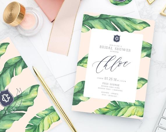 banana leaf invitation | banana leaf | tropical invitation | bridal shower invitation | palm tree invitation | Beverly hills hotel invite
