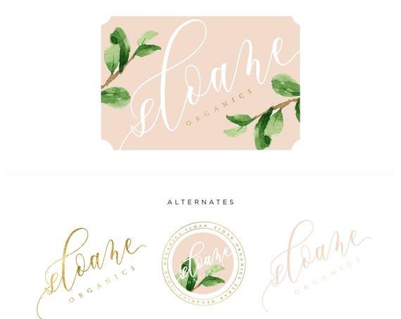 Pretty logo - watercolor logo - blush logo - calligraphy logo - watercolor logo - leaf logo - freshmint paperie