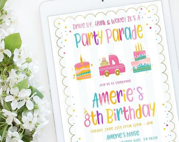 Party Parade Birthday Invitation, Parade Birthday Invitation, Drive by birthday invitation, zoom invitation, drive by parade invitation