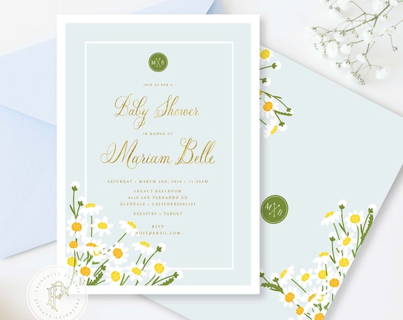 Daisy Baby Shower Invitation - Baby shower invitation - Meadow baby shower invitation - Summer invitation - Neutral baby shower invite