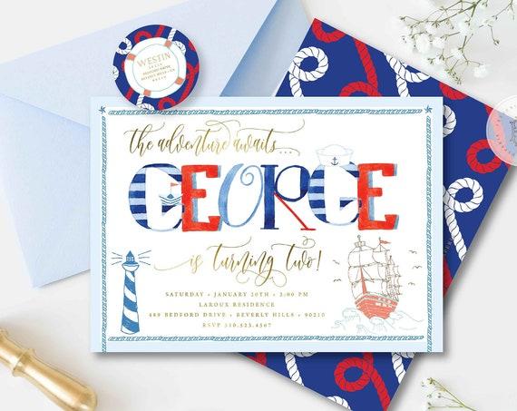 Nautical Invitation - Nautical Birthday Invitation - Nautical Birthday Party Invites - Sailor Invitation - Adventure Invitation - Anchor