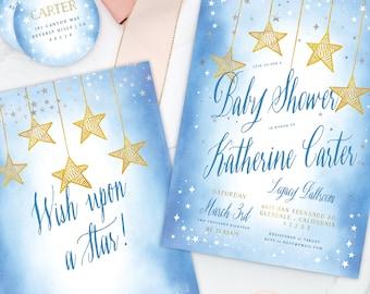 Wish upon a Star invitation - Star is Born invitation - baby shower invitation - Twinkle Twinkle little star invitation - Star invitation