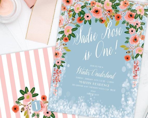Winter onederland invitation | winter wonderland invitation | floral invitation | first Birthday | Winter Onederland Birthday invitation
