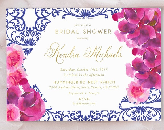 Watercolor floral invitation - Chinoiserie floral invitation - Bridal Shower Invitation - Chinoiserie invitation - hot pink floral