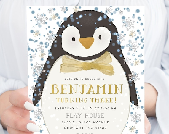 Penguin invitation | winter wonderland invitation | Penguin invitation | Winter invitation | Winter Onederland Birthday invitation