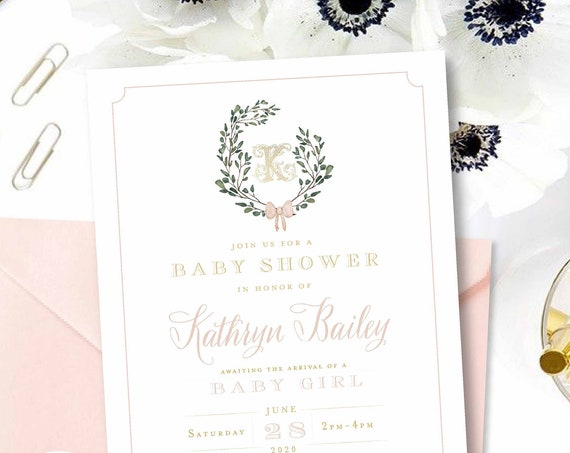 Monogram Baby Shower Invitation - baby shower invitation - baby shower invitation - wreath ribbon invitation - Pink baby shower