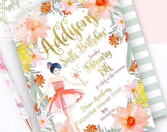 Ballerina invitation | ballet invitation | floral ballerina | pretty ballerina | girls invitation | Fairy invitation | Fairy Birthday party