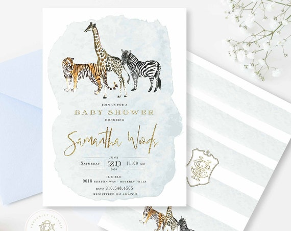 Jungle invitation Safari Baby Shower invitation baby shower invitation Giraffe invitation Jungle Baby Shower Zebra Tiger Watercolor