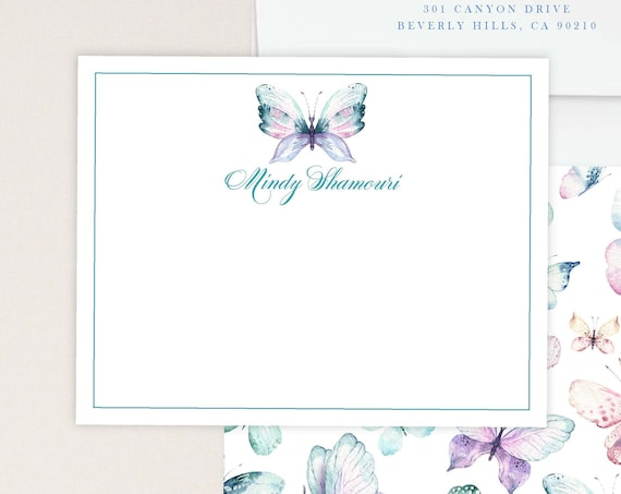 Personalized Stationery - Butterfly Note Cards - Stationery Note Cards - Stationery Suite - Butterfly Stationery- set23