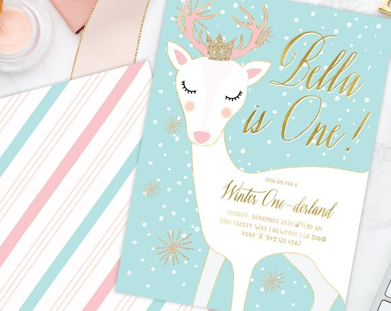 Winter ONEderland invitation | winter wonderland invitation | Rudolph invitation | Deer invitation | first birthday invitation | snow invite