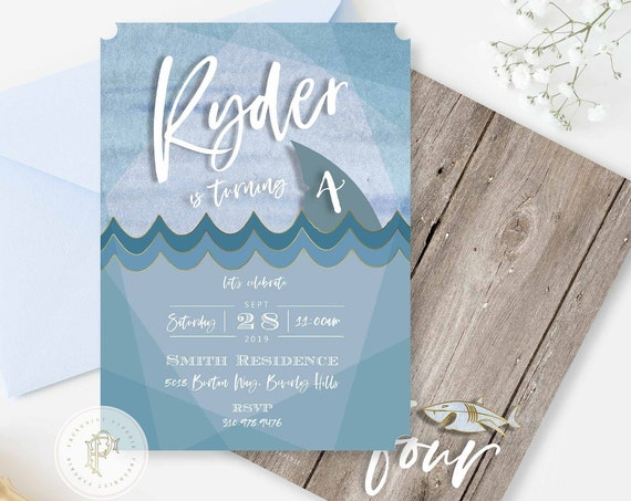 SHARK invitation, Ocean Shark invite, Shark Teeth invitation, Sea Invitation, Boys invitation, Shark Birthday invitations