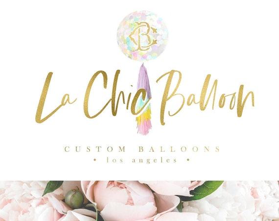balloon tassel logo - logo design - modern logo - business branding - children's boutique logo - balloon logo - balloons logo