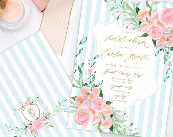 Floral invitation - Flower invitation - Bridal shower invitation - Watercolor invitation - Baby shower - Pink flowers - Crest invitation