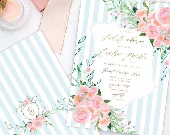 Floral invitation - Flower invitation - Bridal shower invitation - Watercolor invitation - Baby shower - Pink flowers - Crest invitation