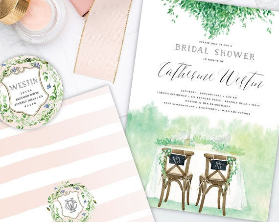 Bridal Shower invitation - rustic bridal shower invitation - wedding shower - watercolor floral invitation - watercolor leaves invite