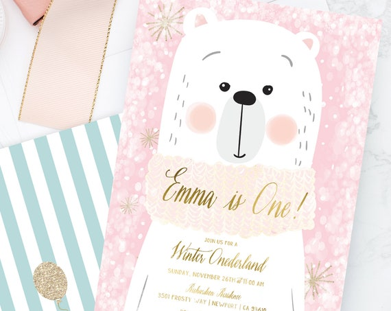 Winter onederland invitation | winter wonderland invitation | Bear invitation | first Birthday | Winter Onederland Birthday invitation