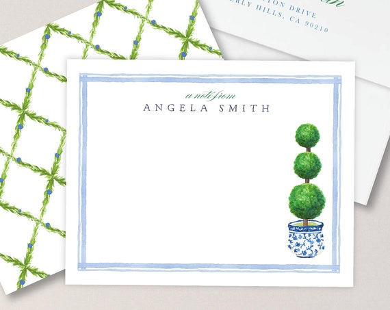Personalized Stationery - Topiary Note Cards - Topiary Stationery Note Cards - Ginger Jar Topiary - Chinoiserie - set19