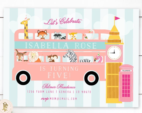 Zoo invitation - Safari invitation - London invitation - london zoo invitation - woodland animals invitation - zoo animals invitation