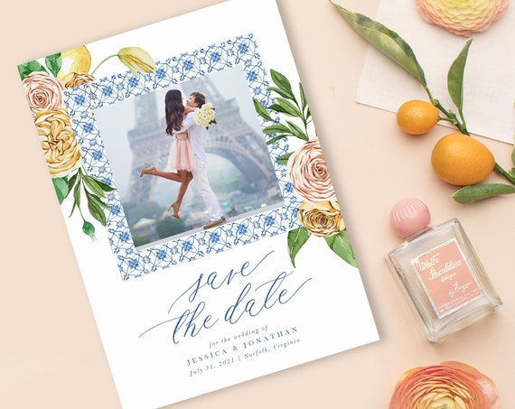 Modern Wedding Save the Date, Printed Save the Dates, Printable Save the Date Cards, wedding save the date, lemon save the dates