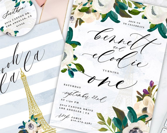French Invitation - Twins birthday invitation - birthday invitation - Neutral invitation - Twins Invitation - Parisian invitation