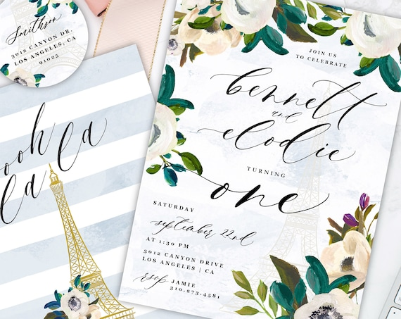 French Invitation - Twins birthday invitation - birthday invitation - Neutral invitation - Twins Invitation - Parisian invitation