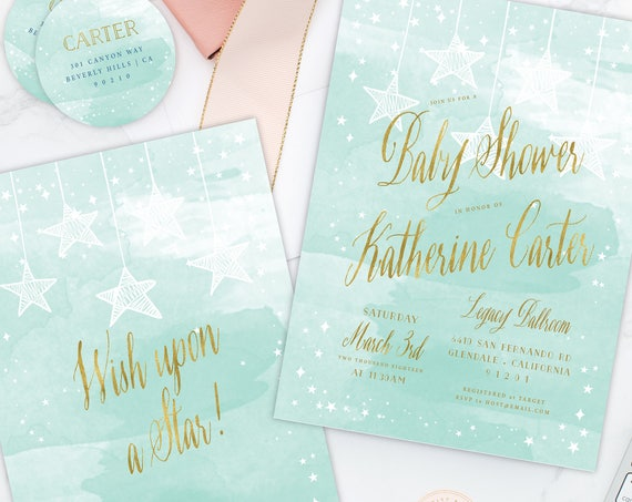 Wish upon a Star invitation - Star is Born invitation - Mint baby shower invitation - Twinkle Twinkle little star invitation