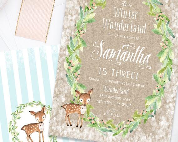 Winter onederland invitation | winter wonderland invitation | Deer invitation | first Birthday | Winter Onederland Birthday invitation