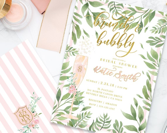 Brunch & Bubbly Invitation - Champagne invitation - Bridal Shower Invitation - Watercolor invitation - Blush Pink Floral invitation