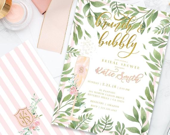 Brunch & Bubbly Invitation - Champagne invitation - Bridal Shower Invitation - Watercolor invitation - Blush Pink Floral invitation