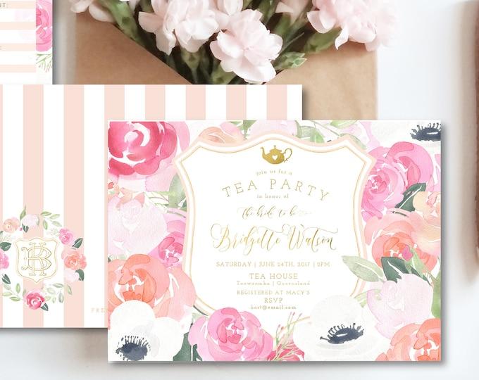 Tea Party invitation - high tea invitation - bridal shower tea party invitation - afternoon tea invitation - freshmint paperie