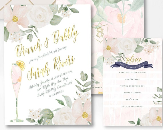 Brunch & Bubbly Invitation, Champagne invitation, Bridal Shower Invitation, Mimosa invitation, Mimosa Shower invitation